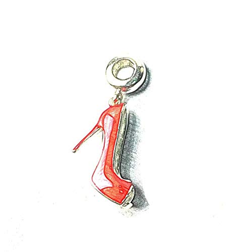 (Calvas Red High Heels Shoe Charm Karma Beads 925 Sterling Silver Fashion DIY Making Jewelry Accessories Fit Bracelets&Necklaces Chain)