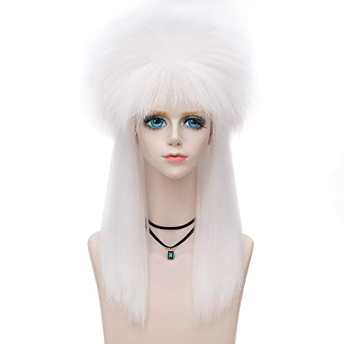 Amback Probeauty Wild Collection 80s Wigs Halloween Costumes Male Spiky Wig Punk Heavy Metal Mullet Wig Long (White)