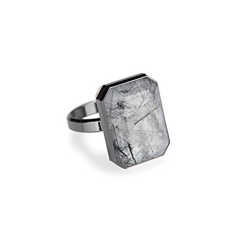 Ringly - Bluetooth Smart Ring- Gunmetal / Tourmalated Quartz - (Previous Generation)
