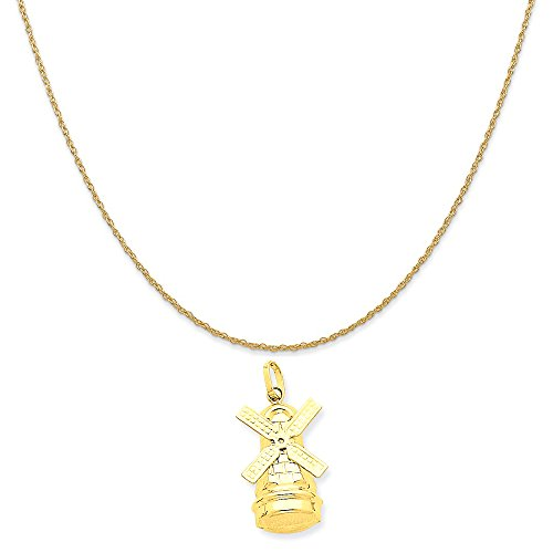 14k Yellow Gold Windmill Charm on a 14K Yellow Gold Rope Chain Necklace, 20