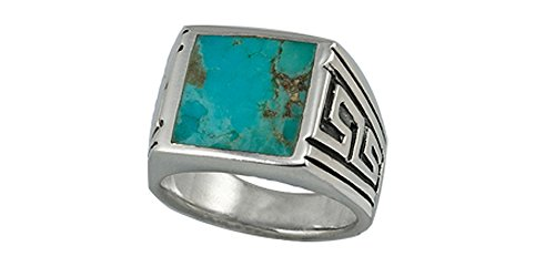 Sterling Silver Genuine 12x12 Turquoise Men