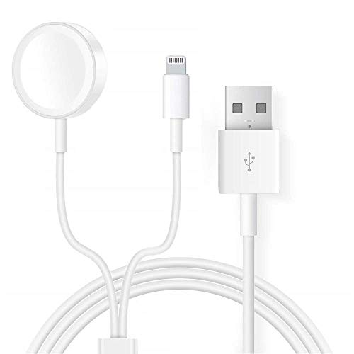 Compatible iWatch Apple Watch Charger, 2 in 1 iPhone Charger 3.9ft/1.2m Portable Charging Cable, Wireless Magnetic Travel Charger Compatible iWatch Series 4/3/2/1, iOS Phone XR/XS/X/8/7/6/iPad Mini