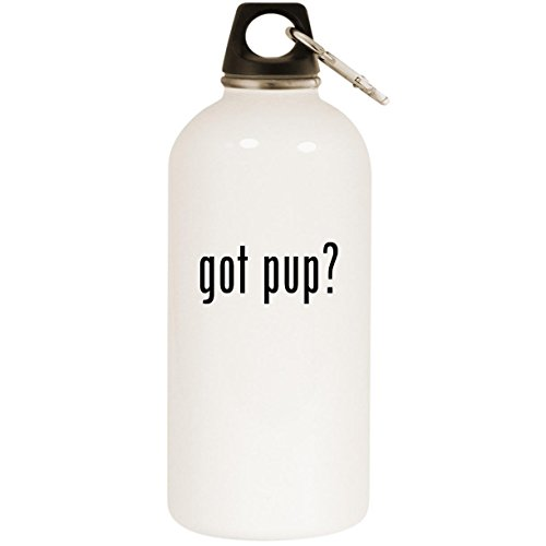 got pup? - White 20oz Stainless Steel Water Bottle with Carabiner ()