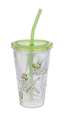 Disney Parks Tinkerbell Acrylic Tumbler Cup with Straw Tinker Bell