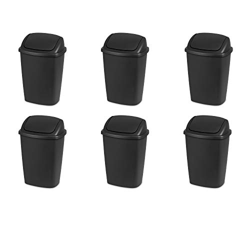 Sterilite 10689006 7.5 Gallon SwingTop Wastebasket, Black Lid and Base, 6-Pack