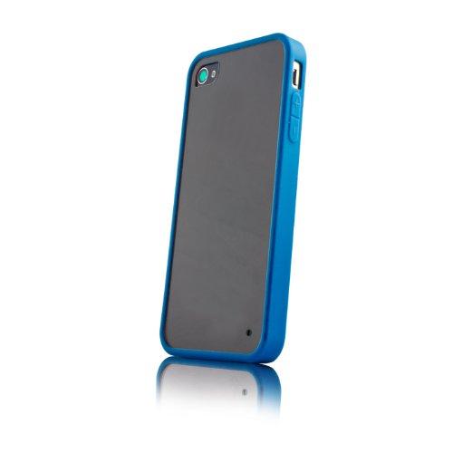 handy-point HYBRID ULTRA CLEAR mix Hardcase mit Gummirand, Kunststoffhülle Schutzhülle Schale Hülle für iPhone SE, 5, 5S, Blau