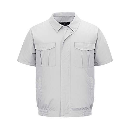 Camouflage Work Short-Sleeved Pocket Men's Women's T-Shirt Top Dual-Use Fan Air Conditioning Service Ice Clothing Welding Fishing Sun Protection Clothing Coat]()