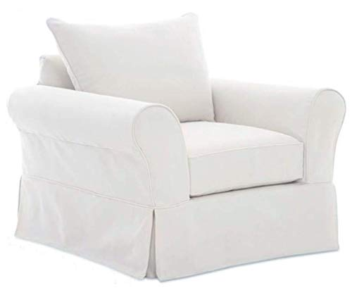 The Cotton Sofa Cover Only Fits Pottery Barn PB Comfort Roll Arm Chair Or Armchair. A Durable Slipcover Replacement (White Knife - Slipcover Arm With Chair White