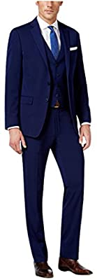 Calvin Klein Navy Solid Two Button Flat Front New Men's 2-Piece Suit