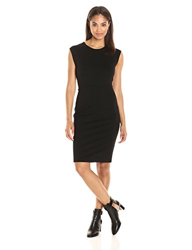 PARIS SUNDAY Women's Cap Sleeve Fitted  Sheath Dress, Black, X-Large (Women Sunday Dresses)