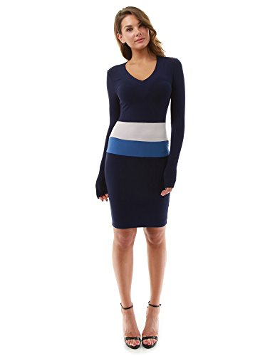 PattyBoutik Women's Block Color Long Sleeve Dress (Navy, Blue and Light Gray L)