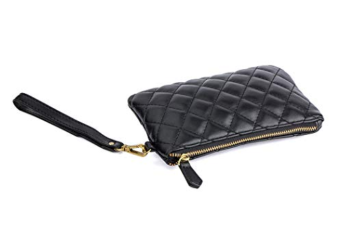 (Albe Rita Women's Quilted Wrislet Clutch Purse Chanel Wallet With Zipper And Wrist Strap Coin Purse Change Purse (Black))