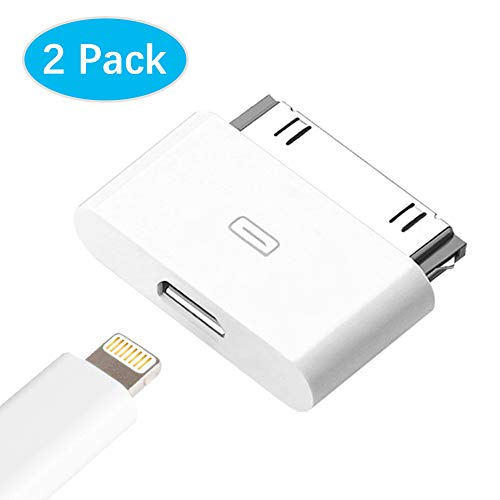 AODSC iOS Adapter,8pin (Female) to 30 pin (Male) Charger Adapter,Support Charging and Data Transmission,Compatible with iOS 3GS/Phone4/Phone4S【2 Pack】(White)