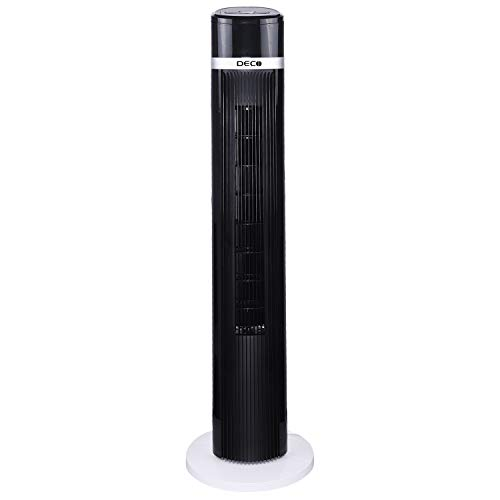 Deco Air Tower Elegant Indoor Fan with Remote (Black and White, 35 W)