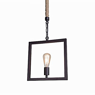 LNC Industrial 1-light Square Metal Rope Pendant Lighting