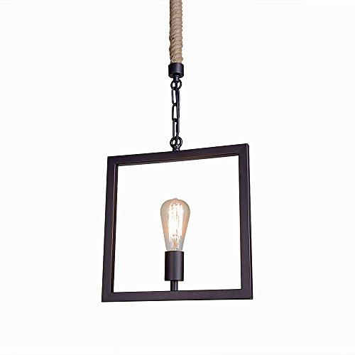 LNC Industrial 1-light Square Metal Rope Pendant