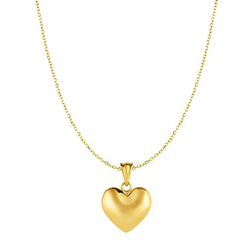 MCS Jewelry 10 Karat Yellow Gold Puffed Heart Pendant Necklace (18