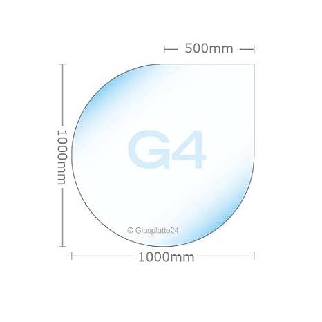 Funkenschutzplatte ESG 8mm Glasplatte Bodenplatte Kaminplatte Funkenschutz Ofenplatte Kaminglas ohne Dichtlippe G3 Tropfen 1100mm x 1100mm x 8mm