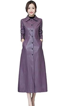 neveraway Women Casual Pu Leather Oversized Wrap Coat Buckle Long Trench Coat Purple 2XL