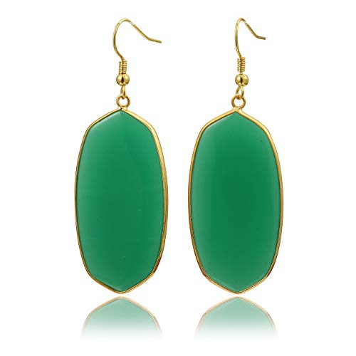 Top Plaza Womens Fashion Natural Gemstone Oval Rhombus Ear Hook Water Drop Ear Pendant Dangle Earring(Oval Green Crystal ()