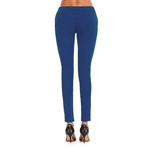Cremallera Sexy blue Estiramiento Lado pies Pantalones Royal lápiz Moda sheng Ju Vaqueros Cintura Alta aqxOw4XX5