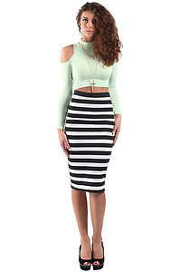 Monochrome Black & White Striped Bodycon Midi Skirt (S/M 8/10 ...