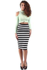 Monochrome Black & White Striped Bodycon Midi Skirt (S/M 8/10 ...