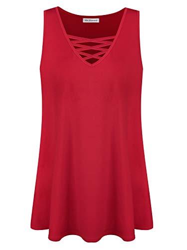 Plus Size Women's Summer Sleeveless Criss Cross Casual Tank Basic Tops (Red, 2X) - Element Women Clothing