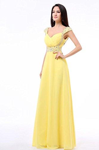 Eventi Cerimonie Abito Balllily In Yellow Eleganti Sera Donna Lungo Chiffon Per Da Ed vqwdw8rC