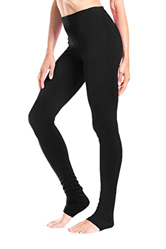 Yogipace Women's 34' inseam High Waisted Goddess Extra Long Leggings Yoga Over the Heel Leggings with Pockets - Tall Length Black Size S
