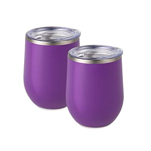 Maars Bev Stainless Steel Stemless Wine Glass Tumbler with Lid, Vacuum Insulated 12 oz Purple Cup | Spill Proof, Travel Friendly, Fun Cocktail Drinkware - 2 Pack Set