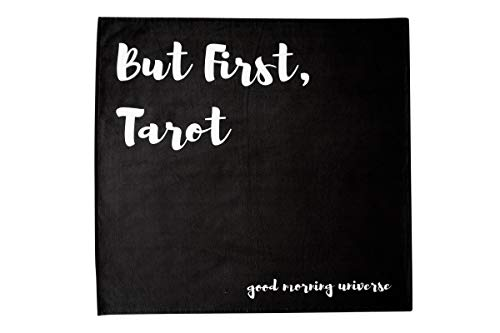 Altar Tarot Cloth with Good Morning Universe (Large, Black, 24 inches x 24 inches)