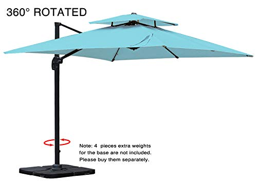 (Mefo garden 10 by 10-Feet Offset Cantilever Umbrella, 360° Rotated Outdoor Patio Umbrella with Dual Vented Canopy for Garden, Backyard with Cross Base, 250gsm Square Canopy, Turquoise)