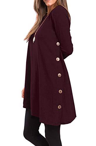 Yidarton Pull Robe Femme Hiver Col V Casual Manche Longue Mini Robes Tunique Wine