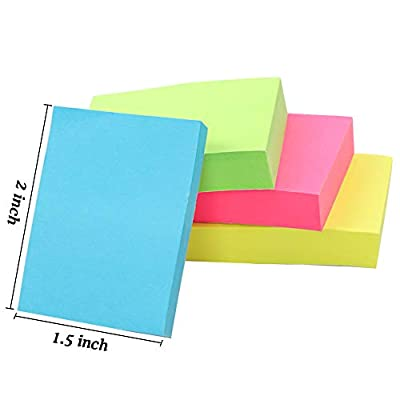 Cocoboo 20 Pads Mini Sticky Notes, 1 1/2 in x 2 in Self-Stick Notes, Small Size, 100 Sheets/Pad, 10 Colors, Post Notes for School and Office