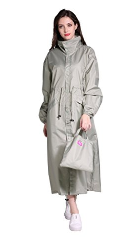 Women's Stylish Long Rain Poncho Waterproof Rain Coat with Hood and Multi Color Pattern (Wasabi Green, M)