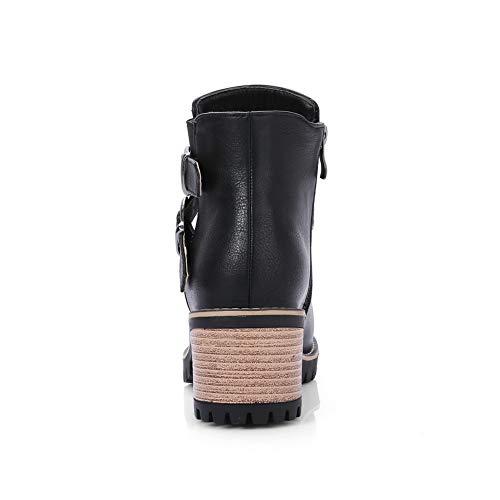 Mujer Sandalias Cuña Negro Mns02931 1to9 Con OBIq5xwUF