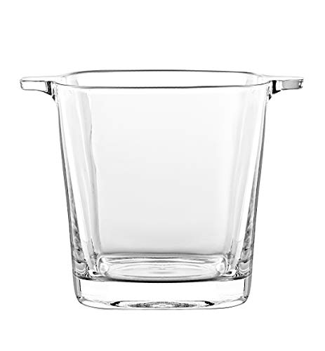 """Glass - Ice Bucket - 5.7"""" H - By Barski - European Quality Glass - Square Shaped - with Two Handles - Made in Europe"""