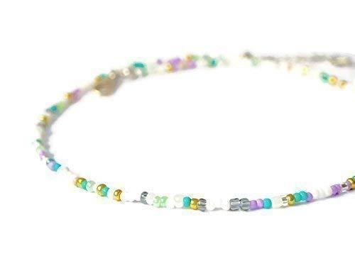 Pastel delicate Necklace Boho Bead choker Handmade glass bead choker Turquoise choker necklace Pastel bead choker necklace Dainty choker
