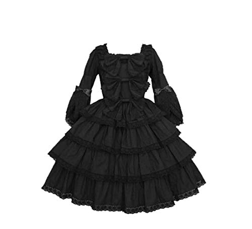 Pink Lolita Dress Princess Lolita Dress Maid Dress Costume Halloween Costume for Women (Black)