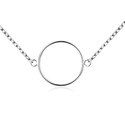 - 925 Sterling Silver Infinite Endless Open Ring Geometric Circle Statement Pendant Necklace, 17-18