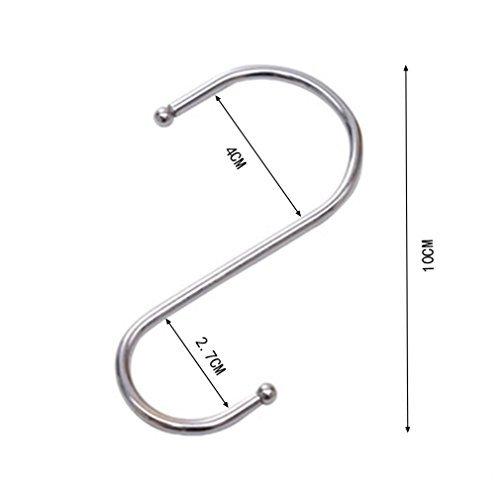 Giantstar 20 Pack  Heavy Duty S Hooks Kitchen Pot Pan Hanger Clothes Storage Rack Size:Large (20pcs/L)