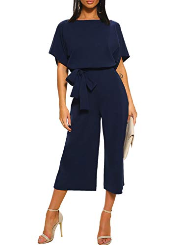 (Happy Sailed Women Summer Short Sleeves Elegant Playsuit Wide Leg Jumpsuit Romper with Belted X-Large Navy Blue)