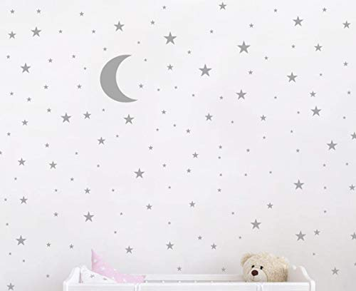 (Moon and Stars Wall Decal Vinyl Sticker For Kids Boy Girls Baby Room Decoration Good Night Nursery Wall Decor Home House Bedroom Design YMX16 (Gray))