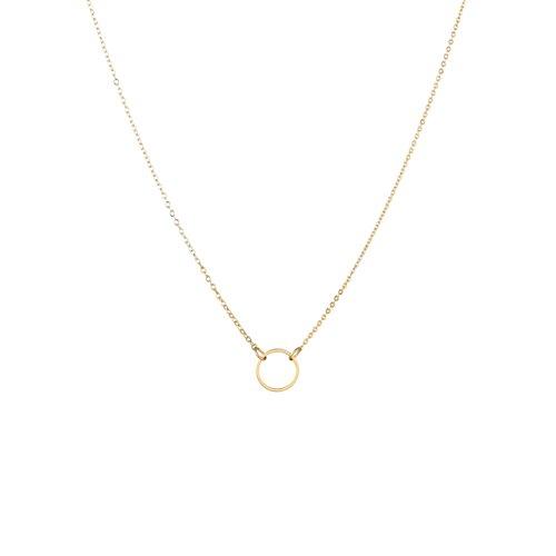 Ring 14k Gold Pendant (Fettero Women Gold Dainty Necklace 14K Gold Fill Round Ring Pendant Choker Chain)