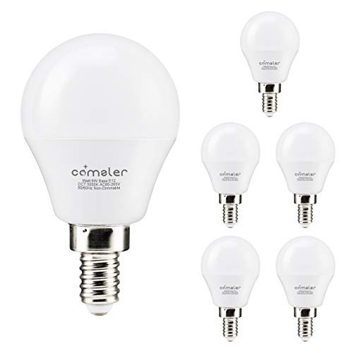 Comzler LED Ceiling Fan Bulb 60W Equivalent, Daylight 5000K, Candelabra Base G45 Globe Light Bulbs 600lm for Bedroom, Living Room, CRI>80, Non-dimmable, 6 Pack