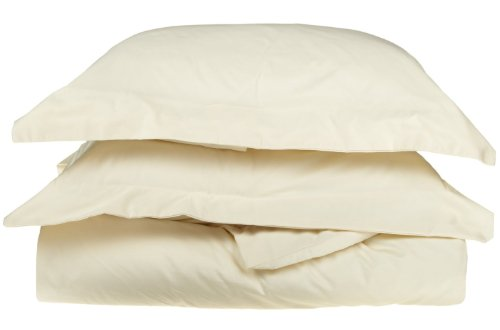Simple Luxury 1000 Thread Count Solid 3 Piece Duvet Cover Set Size: King/California King, Color: Ivory