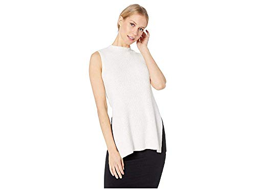 cupcakes and cashmere Women's Remmi Ribbed Sweater Tank with Lurex, Oatmeal, Medium