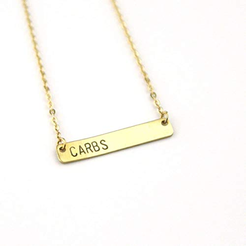Carbs Brass Bar Necklace | Carb Lover | Keto Necklace | Low Carb Jewelry | Funny Necklace | Humor | Foodie Necklace | Food Lover Gift - Jewelry Funny Humor
