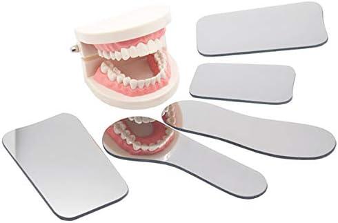 CWWHY Seitiger Professioneller Zahnmedizinischer Okklusaler Photographischer Mundspiegel, Rhodium Dental Plated Glass Intraoral Photo Reflector, 5Pcs